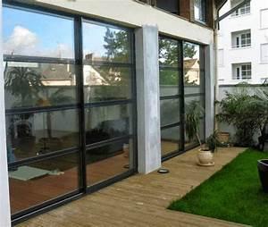 Baie Vitrée Coulissante Alu : baie vitr e coulissante en aluminium style verri re ~ Melissatoandfro.com Idées de Décoration