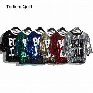 2018 glitter t shirt women sequin shirt crop top letters With glitter letters for shirts