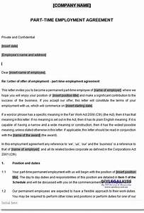 part time employment contracts template With permanent contract of employment template