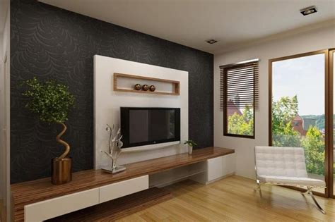 elegant white tv cabinet  contrast wallpaper ipc