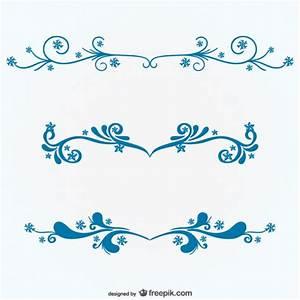 Adornos florales azules Descargar Vectores gratis