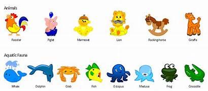 Cartoon Animals Aquatic Funny Fauna Elements Example