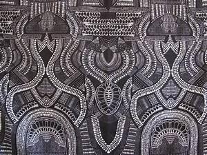 black grey bone tribal graphics scuba fabric sold