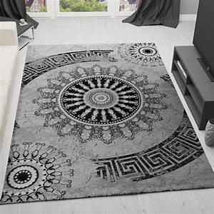 Klassischer wohnzimmer teppich meliert ornament muster in for Balkon teppich mit tapete grau ornament