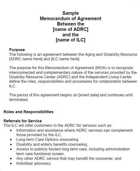 sample memorandum  agreement templates