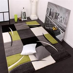 Teppich Grün Grau : designer teppich mit konturenschnitt karo muster gr n schwarz wohn und schlafbereich designer ~ Markanthonyermac.com Haus und Dekorationen