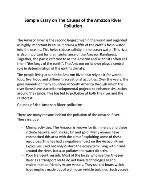 water pollution essays sample essay on the causes of the amazon river pollution