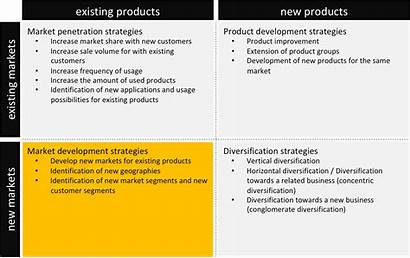 Ansoff Matrix Strategies Existing Using Markets