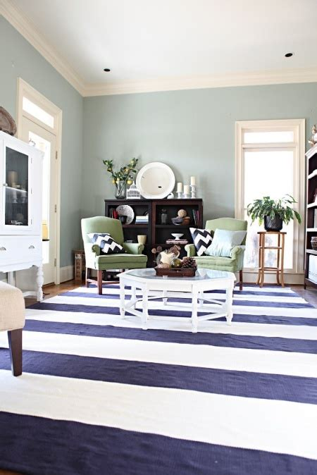 navy striped rug  green accents   home