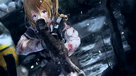 Anime Gun Wallpaper - 1920x1080 anime scared expression