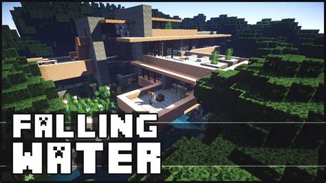 minecraft falling water house  frank lloyd wright youtube