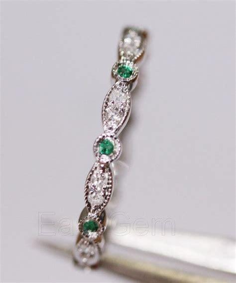 antique art deco emerald diamondk white gold full