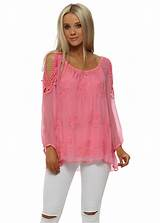 Made In Italy Pink Silk Cold Shoulder Top