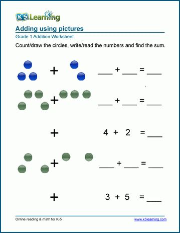 st grade math worksheet addition  pictures