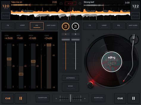 ipad mixing desk app edjing 5 dj turntable to mix and record music screenshot