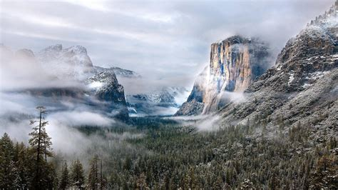 nature landscape mountain clouds usa winter morning