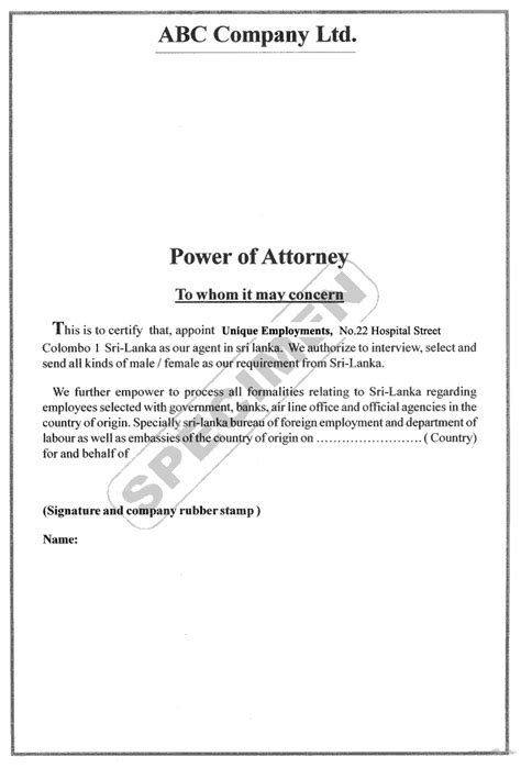power  attorney letter examples  mesothelioma lawyers
