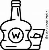 Outline Bottle Icon Clipart Vector Whisky Gold Bar Clip Premium Whiskey Eps Illustrations sketch template