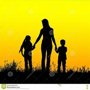 Silhouette Mother And Child Holding Hands At Sunset Stock ...