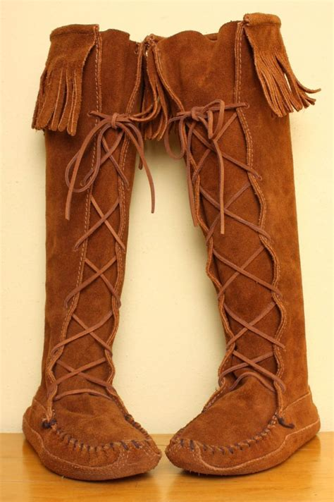 tall minnetonka fringe moccasin boots  brown suede