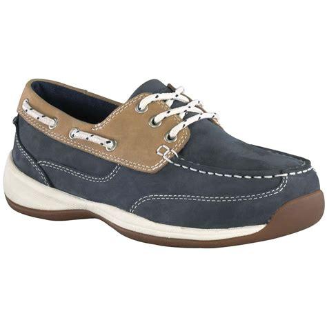rockport boat shoes womens s rockport works 174 steel toe 3 eye boat shoes