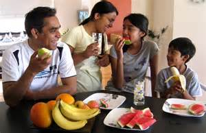 Children Eating Healthy with Family