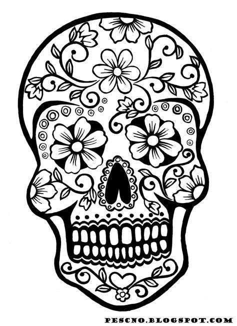 Sugar Skull Coloring Pages Tryk P Billedet For En Stor