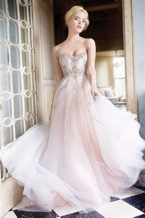 Rose Tulle Bridal Ball Gown With Shimmer Throughout See