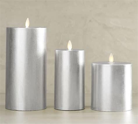 premium flicker flameless gilt pillar candle silver