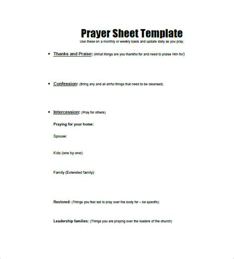 prayer list template   word excel  format