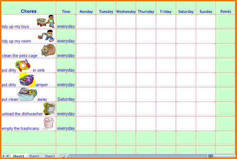 Free Printable Toddler Chore Chart Template Toddler C Chart Template