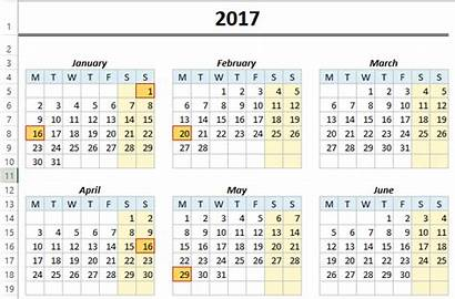 Calendar Excel Yearly Template Holidays Monthly Automatically