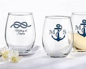 personalized stemless 9 oz wine glass nautical wedding With stemless wine glass wedding favors