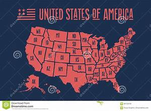 Poster Map United States Of America With State Names Stock ...