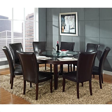 72 inch round dining table hartford 9 piece 72 inch round dining table set in dark