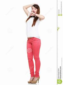 Beautiful Standing Yawning Stretching Woman In Red Royalty ...