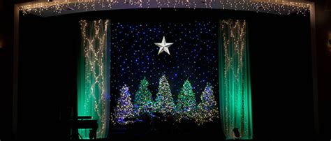 framed trees church stage design ideas