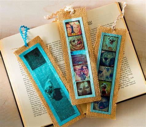 photographic memories burlap diy bookmarks