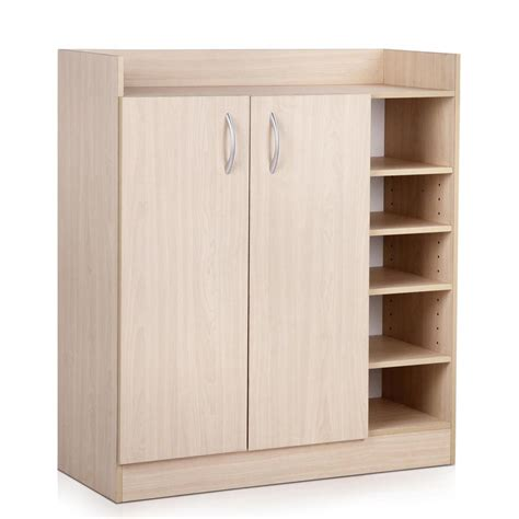 shoe storage cabinet with doors 2 doors shoe cabinet storage cupboard natural timber au ebay