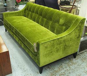 Sofa light green two seater buttoned fabric on ebonised for Light green sectional sofa