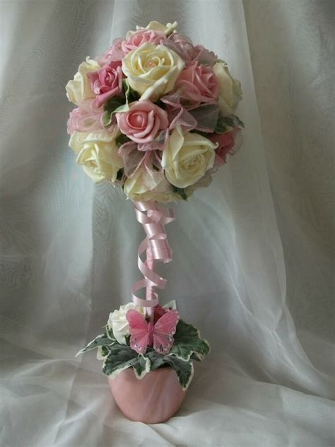 pink ivory topiary tree wedding flowers table centrepiece ebay
