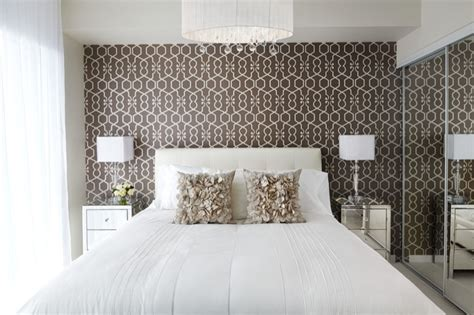 wallpaper accent wall contemporary bedroom lux design