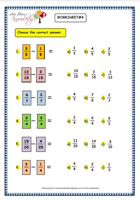 grade 3 maths worksheets 7 7 subtracting fractions lets share knowledge