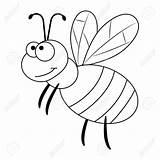Bee Coloring Ape Fumetto Divertente Cartoon Tecknad Funny Illustrazione Grappige Colorare Colorless Incolore Libro Vettore Vector Roligt Lustige Farblose Preschool sketch template