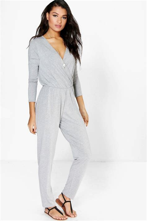 womens casual jumpsuits boohoo womens livie wrap front jersey casual jumpsuit ebay