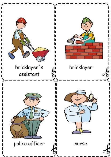 jobs flashcards  images english lessons  kids