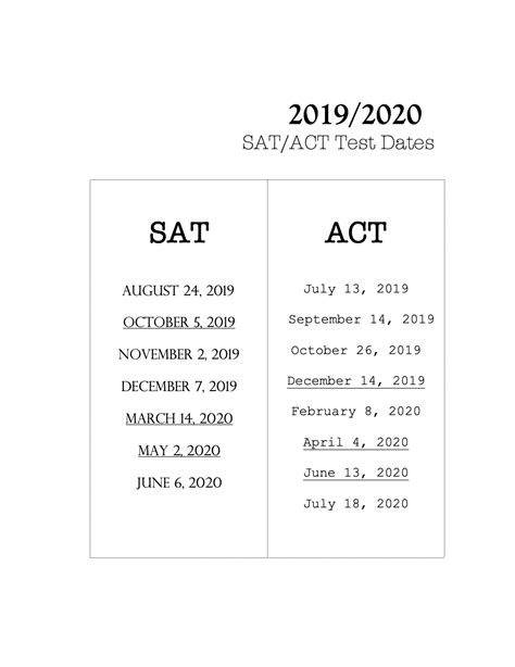 sat act test academic year