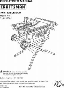 Craftsman 315218061 User Manual Table Saw Manuals And