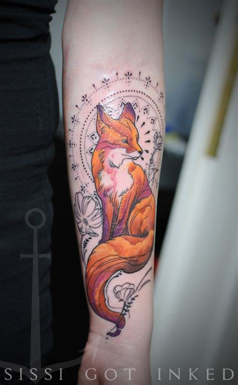 fox mandala  heart  tattoo