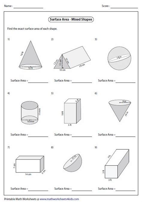 surface area worksheets area worksheets  shapes